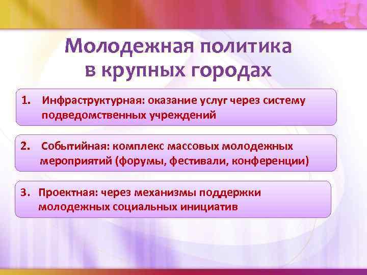 Молодежная политика в крупных городах 1. Инфраструктурная: оказание услуг через систему подведомственных учреждений 2.