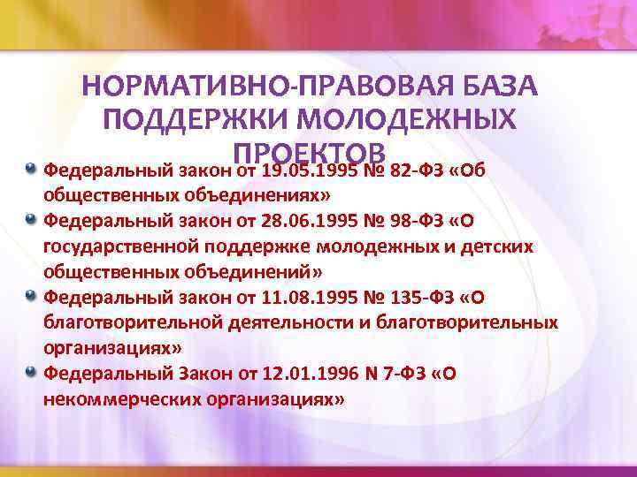 НОРМАТИВНО-ПРАВОВАЯ БАЗА ПОДДЕРЖКИ МОЛОДЕЖНЫХ ПРОЕКТОВ Федеральный закон от 19. 05. 1995 № 82 -ФЗ