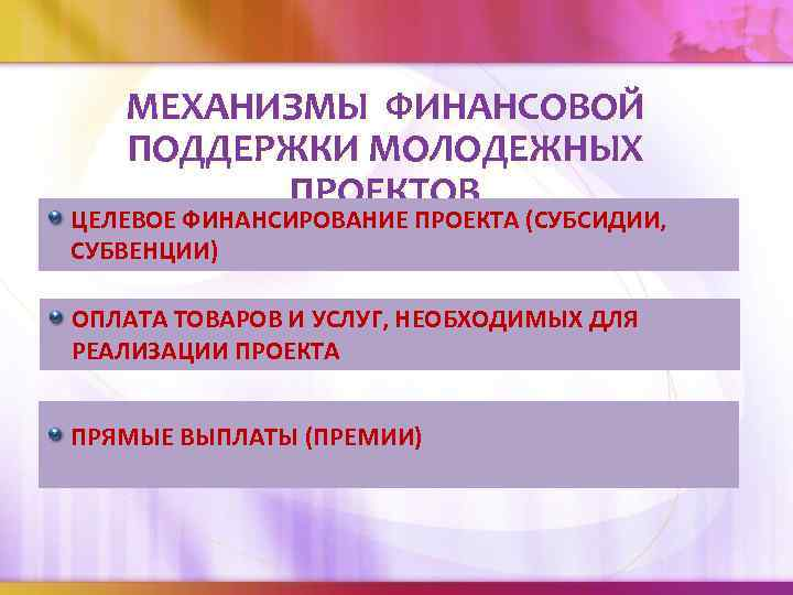 МЕХАНИЗМЫ ФИНАНСОВОЙ ПОДДЕРЖКИ МОЛОДЕЖНЫХ ПРОЕКТОВ ЦЕЛЕВОЕ ФИНАНСИРОВАНИЕ ПРОЕКТА (СУБСИДИИ, СУБВЕНЦИИ) ОПЛАТА ТОВАРОВ И УСЛУГ,