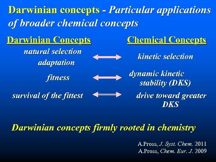 Darwinian concepts - Particular applications of broader chemical concepts Darwinian Concepts natural selection adaptation
