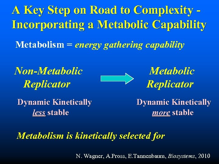 A Key Step on Road to Complexity Incorporating a Metabolic Capability Metabolism = energy