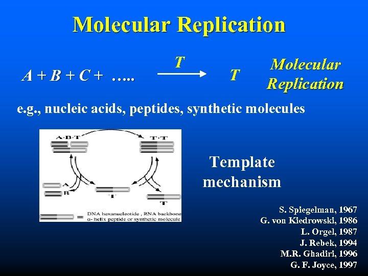 Molecular Replication A + B + C + …. . T T Molecular Replication