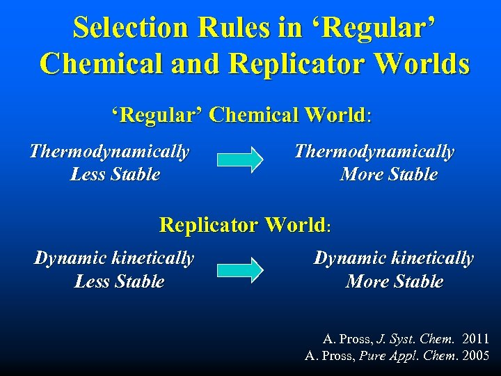 Selection Rules in 'Regular' Chemical and Replicator Worlds 'Regular' Chemical World: Thermodynamically Less Stable