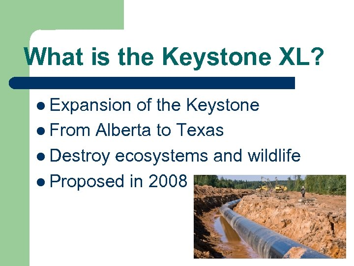 What is the Keystone XL? l Expansion of the Keystone l From Alberta to