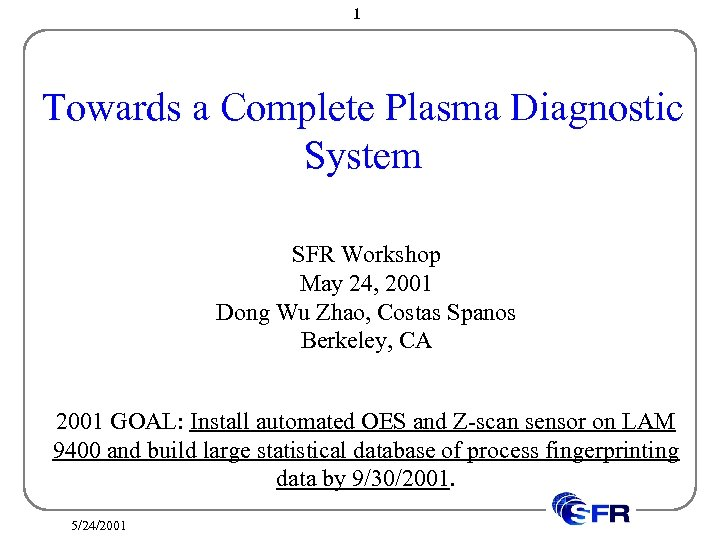 1 Towards a Complete Plasma Diagnostic System SFR Workshop May 24, 2001 Dong Wu