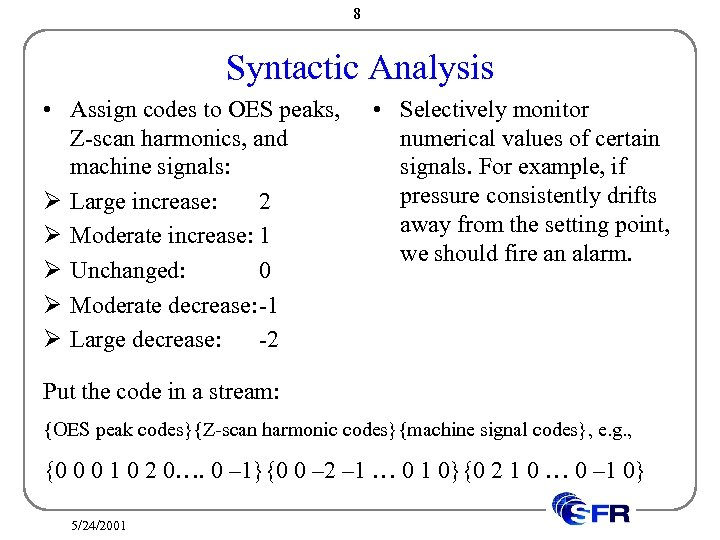 8 Syntactic Analysis • Assign codes to OES peaks, Z-scan harmonics, and machine signals: