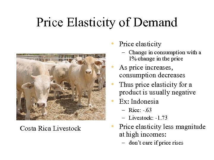 Price Elasticity of Demand • Price elasticity – Change in consumption with a 1%