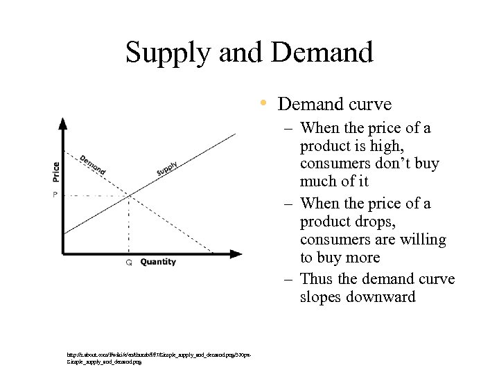 Supply and Demand • Demand curve – When the price of a product is