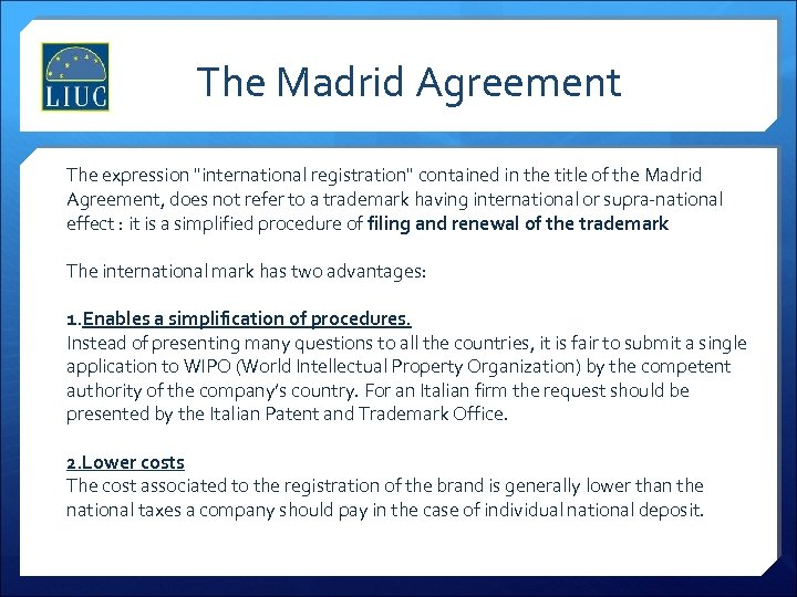 The Madrid Agreement The expression