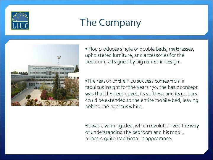The Company • Flou produces single or double beds, mattresses, upholstered furniture, and accessories