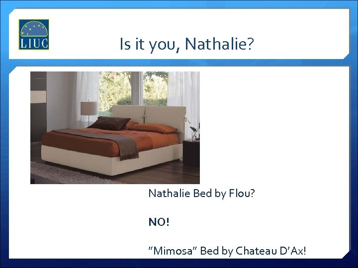 "Is it you, Nathalie? Nathalie Bed by Flou? NO! ""Mimosa"" Bed by Chateau D'Ax!"