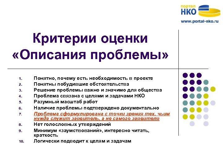 Критерии оценки «Описания проблемы» 1. 2. 3. 4. 5. 6. 7. 8. 9. 10.