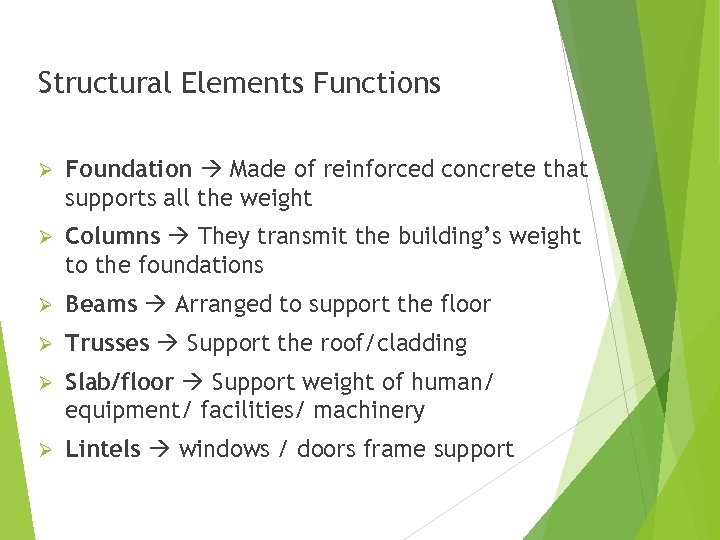 Structural Elements Functions Ø Foundation Made of reinforced concrete that supports all the weight
