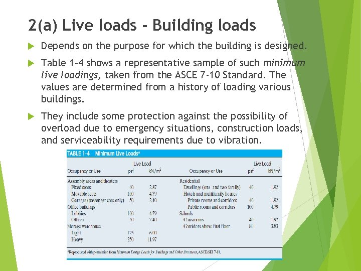 2(a) Live loads - Building loads Depends on the purpose for which the building