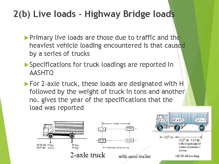 2(b) Live loads - Highway Bridge loads Primary live loads are those due to