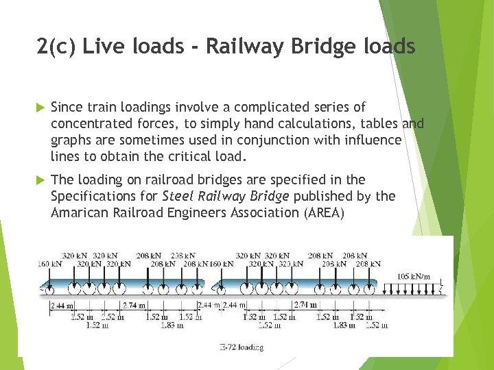 2(c) Live loads - Railway Bridge loads Since train loadings involve a complicated series