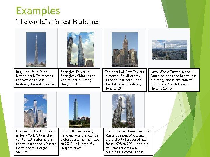 Examples The world's Tallest Buildings Burj Khalifa in Dubai, United Arab Emirates is the