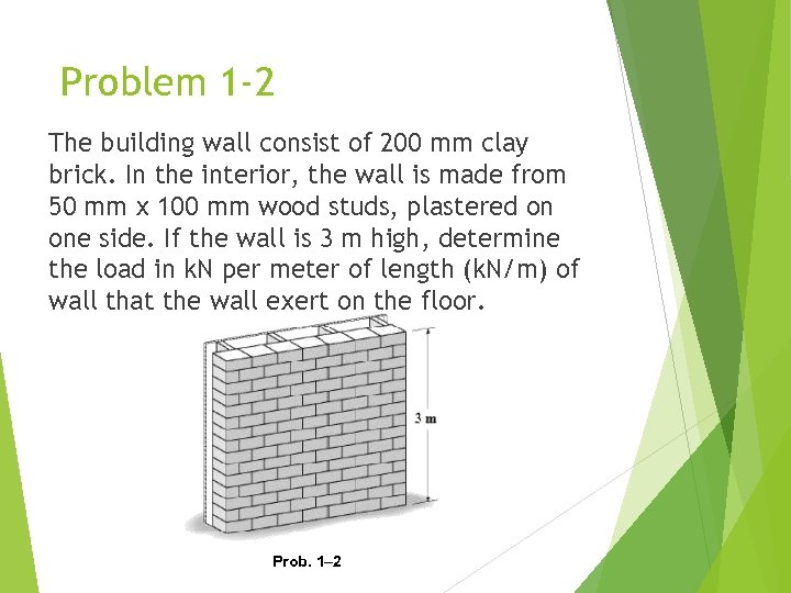 Problem 1 -2 The building wall consist of 200 mm clay brick. In the