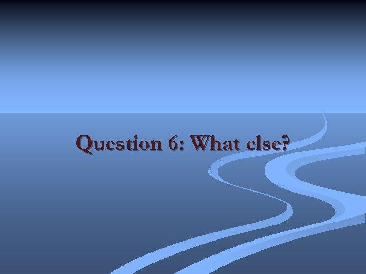 Question 6: What else?