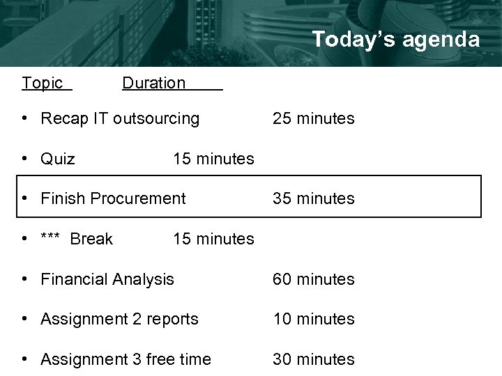 Today's agenda Topic Duration • Recap IT outsourcing • Quiz 15 minutes • Finish