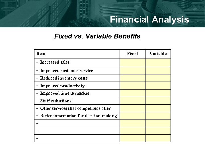 Financial Analysis Fixed vs. Variable Benefits Item • Increased sales • Improved customer service