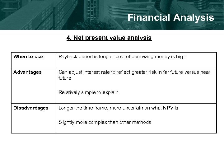 Financial Analysis 4. Net present value analysis When to use Payback period is long
