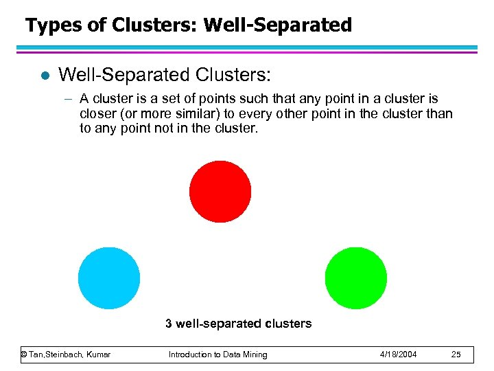 Types of Clusters: Well-Separated l Well-Separated Clusters: – A cluster is a set of