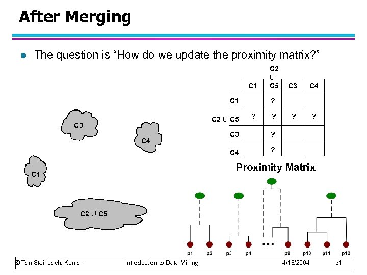 """After Merging l The question is """"How do we update the proximity matrix? """""""