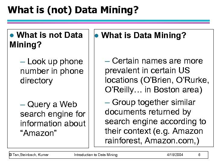 What is (not) Data Mining? What is not Data Mining? l – Look up