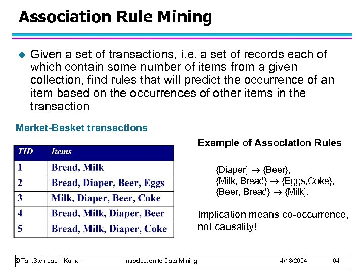 Association Rule Mining l Given a set of transactions, i. e. a set of