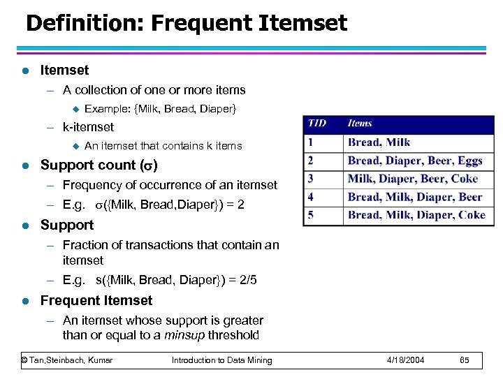 Definition: Frequent Itemset l Itemset – A collection of one or more items u