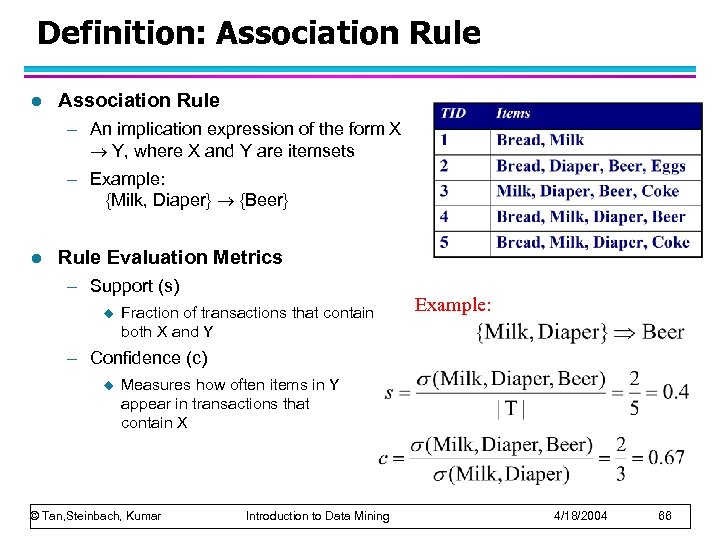 Definition: Association Rule l Association Rule – An implication expression of the form X