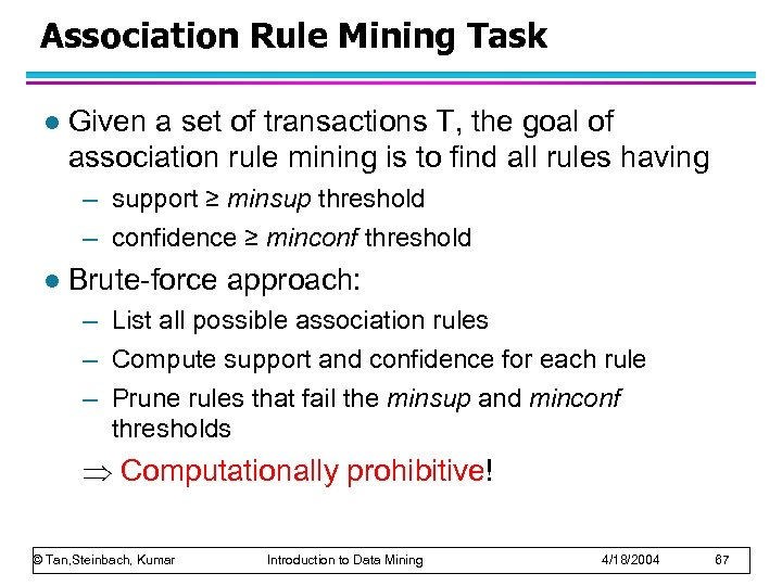 Association Rule Mining Task l Given a set of transactions T, the goal of