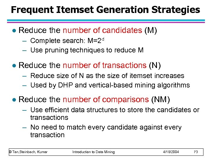 Frequent Itemset Generation Strategies l Reduce the number of candidates (M) – Complete search:
