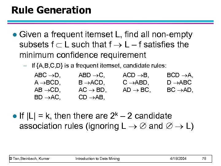 Rule Generation l Given a frequent itemset L, find all non-empty subsets f L