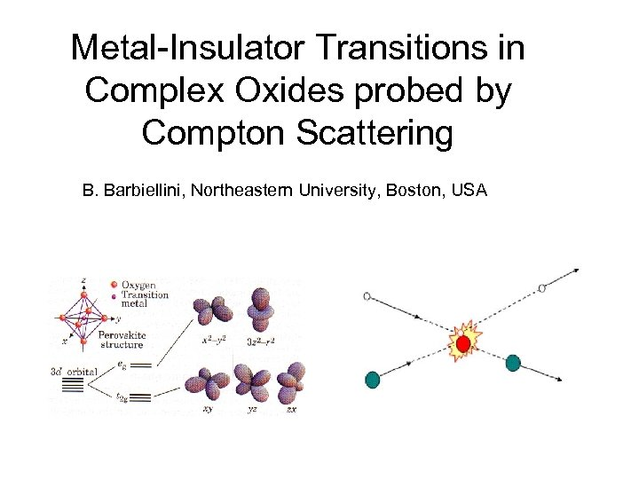 Metal-Insulator Transitions in Complex Oxides probed by Compton Scattering B. Barbiellini, Northeastern University, Boston,