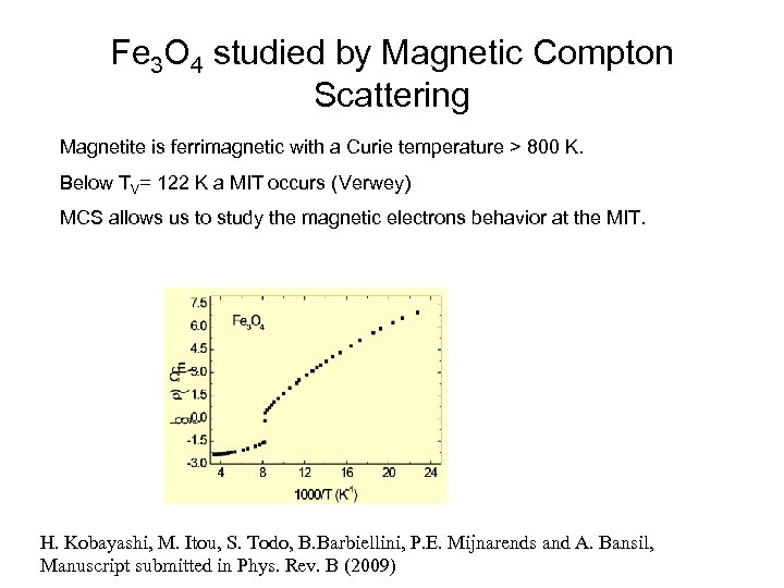 Fe 3 O 4 studied by Magnetic Compton Scattering Magnetite is ferrimagnetic with a