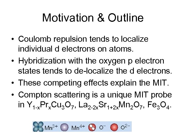 Motivation & Outline • Coulomb repulsion tends to localize individual d electrons on atoms.