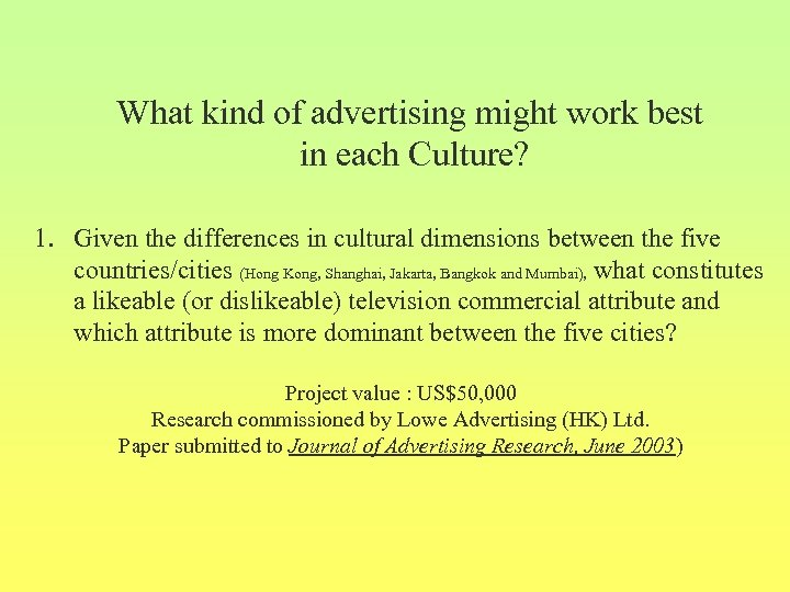 What kind of advertising might work best in each Culture? 1. Given the differences