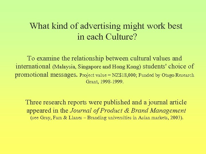 What kind of advertising might work best in each Culture? To examine the relationship