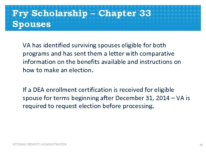 Fry Scholarship – Chapter 33 Spouses VA has identified surviving spouses eligible for both