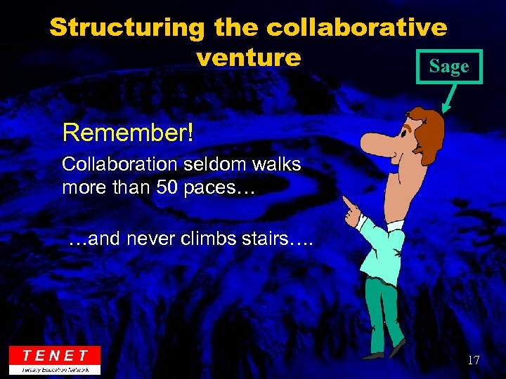 Structuring the collaborative venture Sage Remember! Collaboration seldom walks more than 50 paces… …and