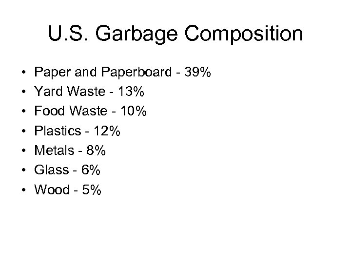 U. S. Garbage Composition • • Paper and Paperboard - 39% Yard Waste -