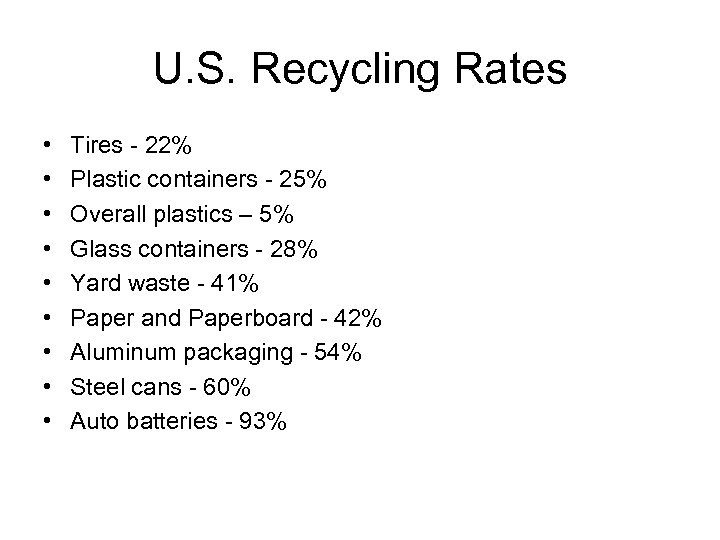U. S. Recycling Rates • • • Tires - 22% Plastic containers - 25%