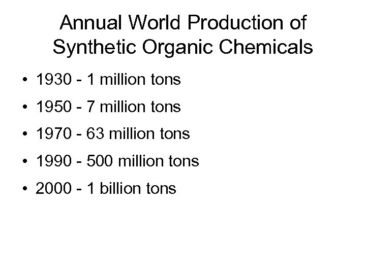 Annual World Production of Synthetic Organic Chemicals • 1930 - 1 million tons •