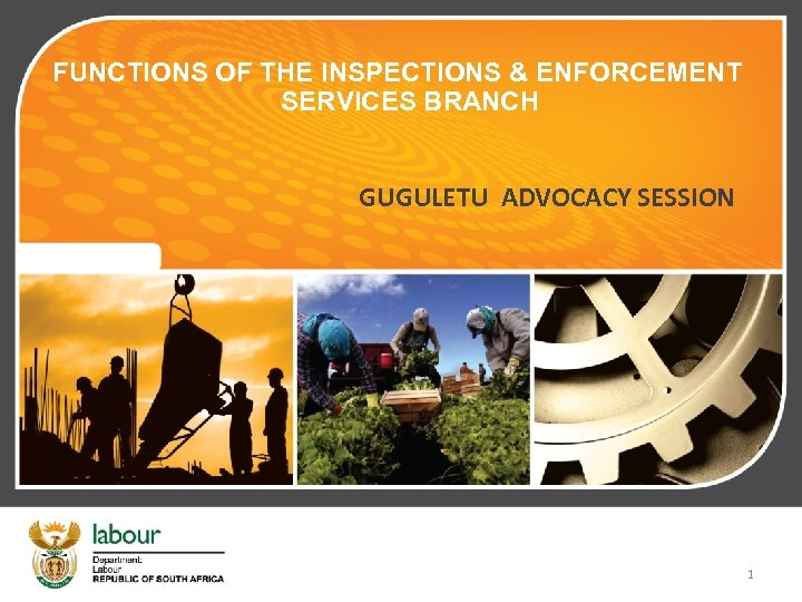FUNCTIONS OF THE INSPECTIONS & ENFORCEMENT SERVICES BRANCH GUGULETU ADVOCACY SESSION 1