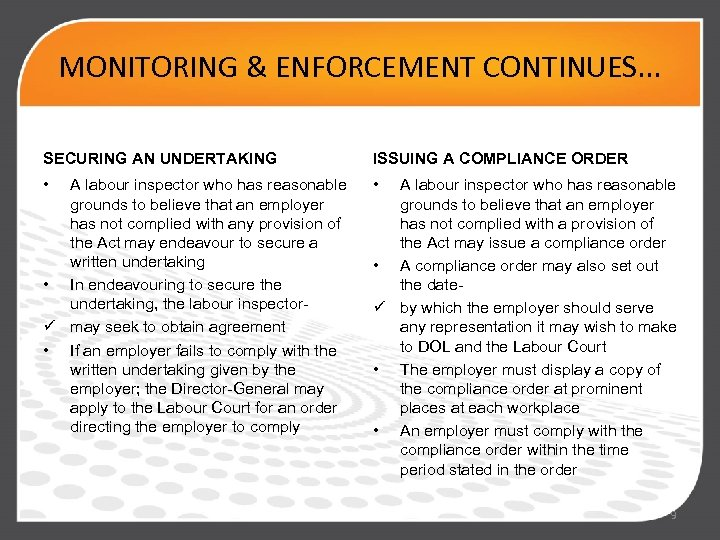 MONITORING & ENFORCEMENT CONTINUES. . . SECURING AN UNDERTAKING ISSUING A COMPLIANCE ORDER •