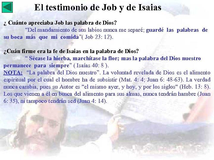 El testimonio de Job y de Isaias ¿ Cuánto apreciaba Job las palabra de
