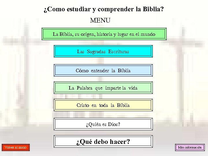 ¿Como estudiar y comprender la Biblia? MENU La Biblia, su origen, historia y lugar