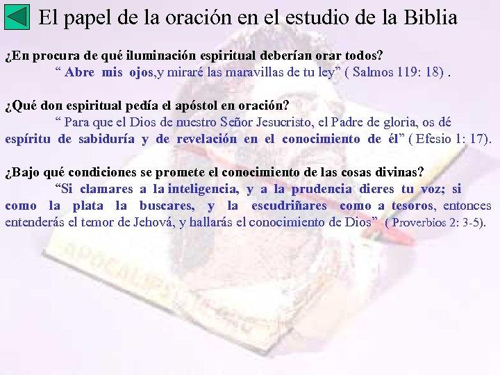 El papel de la oración en el estudio de la Biblia ¿En procura de